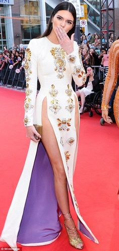 Kendall Jenner in a Fausto Puglis Fall 13/14 dress at the Much Music Awards,sexy leg open gold beaded gowns, top custom made unique prom dress