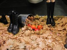 Fall Leaves Window Display at an Shoe Store in Prague. More photos on: http://bestwindowdisplays.com/fall-leaves-window-display-at-an-shoe-store-in-prague/