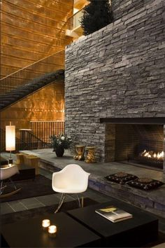 Gorgeous Stone Fireplace Rustic Lounge Mountain Chalet