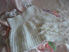 Crochet Baby Dress White Crocheted Baby Girl Sundress/Beach Dress Diaper Cover/...