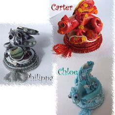 Bead embroidered polymer clay dragon pendants by Lavilia on Etsy