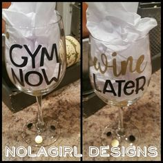 Custom wine glass, Gym now wine later, fitness, workout, wine glasses, personalized, black and gold, gift item, exercise, yoga, drink, sweat #gym #fitnes #wine #glass #etsy