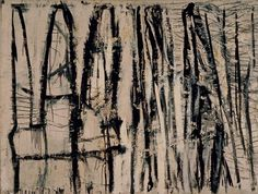 Cy Twombly - 1953 Quazazat He travelled on a grant to North Africa, Spain, Italy and France. On his return in 1953 he served in the army as a cryptologist, an activity that left a distinct mark on his artistic style. Cy Twombly Art, Monochromatic Art, Monochrome, Famous Abstract Artists, Milwaukee Art Museum, Graffiti Painting, Writing Art, Claes Oldenburg, Abstract Drawings