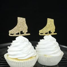 Ice Skate Cupcake Toppers - Set of 12 - Ice Skating Birthday Party - Winter Theme - Gold Glitter - Figure Skating - Girl Birthday Decor ***This item is MADE TO ORDER and ships in 3-5 business days from purchase*** These ice skate cupcake toppers are a perfect touch to your