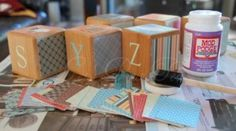 DIY Wooden Baby Blocks- How fun for a baby shower craft!