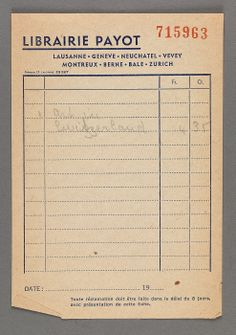 "Librairie Payot receipt for book ""Art in Switzerland"" from the Prendergast Personal Library"