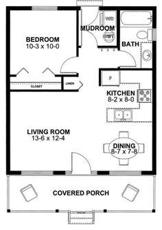 Cabin Style House Plan - 1 Beds 1 Baths 598 Sq/Ft Plan #126-149 Main Floor Plan…