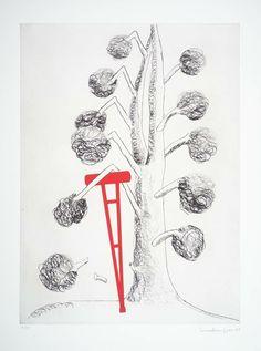 "Louise Bourgeois ""Tree with Red Crutch"" (1998) Grabado: aguafuerte, punta seca y aguatinta sobre papel. Medidas:  760 x 553 mm. Tema: amputaciones"