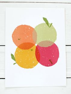 screen printed poster  Four Fruit by SlideSideways on Etsy, $20.00