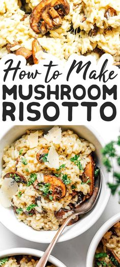 For a dinner that breaks from your usual routine while also being a flavorful classic, give this Easy Mushroom Risotto recipe a try! Packed with mushrooms, wine, and cheese...what more could you want from a dinner? #vegetarian #dinner #healthyrecipe #rice #risotto #vegetariandinner #sidedish Vegetarian Pasta Recipes, Risotto Recipes, Beef Recipes, Whole Food Recipes, Healthy Recipes, Healthy Mushroom Recipes, Vegetarian Italian, Side Recipes, Cooking Recipes