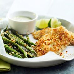 Baked fish with crispy green beans and lime mayo!