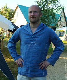 """Купить Рубаха льняная мужская """"Вольный ветер"""" - синяя рубашка, мужская рубаха, натуральная кожа"""