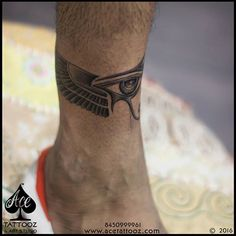 "Horus eye with wings representing moon and the great Falcon forming a band. Client #Rahul was looking out for a band but was confused about the same. After having some discussion about the design this is what our artist #AdityaPanchu came up with! #kingstattoosupply #acetattooz #itsanacetattoo #acetattoo #tattoostudio #tattooartist #tattoostudiocolaba #tattoostudioghatkopar #mumbai #india  www.acetattooz.com  Artist:- #AdityaPanchu  Size:- 9"" x 2"" approx  Placement :- left ankle"