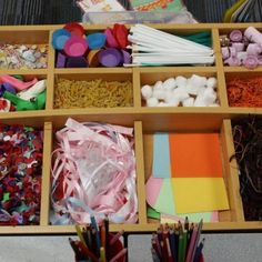 Dividing collage materials into compartmentalized boxes