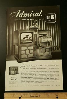 "Admiral TV Television 16"" radio vintage magazine ad advertisement old  slot 6"
