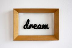 Emmy Star Brown, 'dream' painting. Freehand typography on salvaged frame.