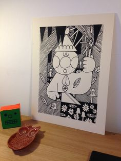 Tomte Print by Adam Higton from Bristol. Printed on heavy weight finnish nature cardboard.