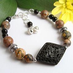 Black Cinnabar Bracelet with Leopard Jasper, Obsidian, Chain Extender by PrettyGonzo on #Artfire - #jewelry #handmade - $22.00
