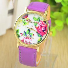 2014 New Fashion Leather GENEVA Rose Flower Watch Women Dress Watch stylish Quartz Watches orologio da polso free shipping-in Wristwatches f...