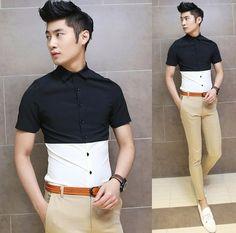 2014 Trendy Black White Contrast Color Slim Men Summer Tops Cool Man Fashion Shirts $24.78