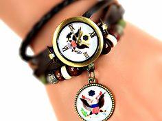 Armbanduhren - FIRST LADY Wickeluhr Siegel Wappen retro Vintage - ein Designerstück von Mont_Klamott bei DaWanda