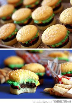 Amazing Burger Cupcakes…Ah my secret is out! Only mine look like Mega Big Macs, and sloppier. But still delicious!