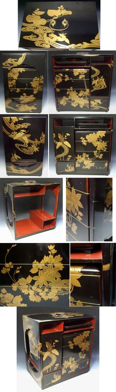 Rare old antique Japanese lacquer ware NOBENTO lunch box beautiful MAKIE