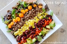 A fresh and healthy twist on the classic taco salad - the Mexi-Cobb Salad. We've lost the greasy shell and beefed it up with high fiber kidney beans and protein rich avocado. Healthy Menu Plan, Clean Eating, Healthy Eating, Healthy Food, Suddenly Salad, Main Dish Salads, Main Dishes, Healthy Salad Recipes, Healthy Dinners