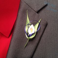 Calla Lily Boutonniere by DidiArtCorner on Etsy