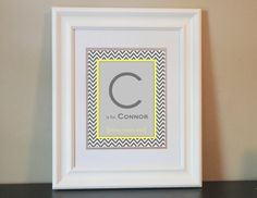 Pink and turquoise?  Chevron Baby Nursery Name Art Boy Gray & Yellow by BabyBunsDesigns, $14.00