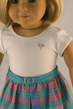 sweet dressed up t-shirt for American Girl (+ ribbon belt + plaid skirt + cute jacket)