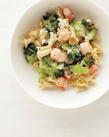 Yogurt and feta create a bright, tangy sauce for this Greek-inspired dish. I substituted broccoli for the escarole.