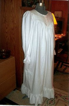 Ladies Victorian white flannel nightgown with pintucks and Pin Tucks 84a62a6fd