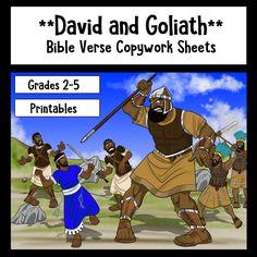 David and Goliath Bible Verse Copywork sheets - available on Teachers Pay Teachers.