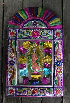 Old Fashion Style Mexican Tin Niche Nicho, Nuestra Señora de Guadalupe, Folk Art