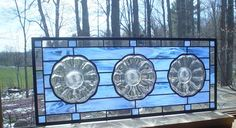 Crystal Daisy Flower Transom stained glass window panel. $140.00, via Etsy.
