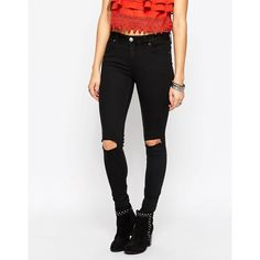 Free People Destroyed Skinny Jean in Black ($47) ❤ liked on Polyvore featuring jeans, black, destroyed jeans, tall skinny jeans, distressed skinny jeans, skinny leg jeans and super skinny ripped jeans