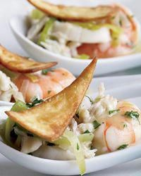 Pinot Grigio: Pairs with light fish dishes Light seafood dishes, like Seafood Tostada Bites, seem to take on more flavor when matched with equally delicate white wines, such as Pinot Grigio or Arneis from Italy or Chablis from France. Fish Dishes, Seafood Dishes, Seafood Recipes, Finger Food Appetizers, Yummy Appetizers, Wine Tasting Party, In Vino Veritas, Tostadas, Wine Recipes