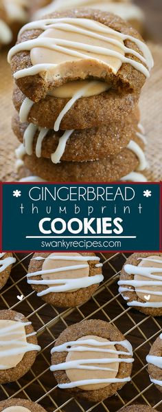Gingerbread Thumbprint Cookies - Chewy cookies with a spiced white chocolate fil. Gingerbread Thumbprint Cookies - Chewy cookies with a spiced white chocolate filling. A dessert favorite that's perfect to make for holiday parties. Köstliche Desserts, Holiday Desserts, Holiday Baking, Holiday Recipes, Delicious Desserts, Holiday Parties, Dessert Recipes, Recipes Dinner, Pasta Recipes