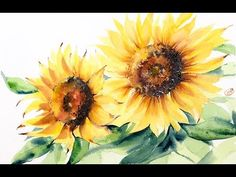 (1) Watercolor Sunflowers Painting Demo - YouTube