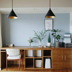 On Walls/北欧/カウンターテーブル/北欧インテリア/リビング収納/ホルムガード...などのインテリア実例 - 2018-01-25 12:24:49 Home Office Design, Home Interior Design, Interior Decorating, House Design, Home Decor Kitchen, Kitchen Interior, Room Interior, Muji Home, Guest Bedroom Office