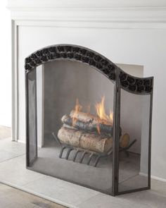 Victoria Beveled-Glass Fireplace Screen | Glass fireplace screen ...