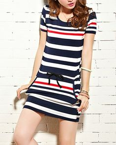 $9.35 Casual Short Sleeve Color Block Striped Scoop Neck Drawstring Packet Buttock Dress For Women
