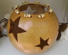 Gourd Art Bowl  Decoration  Shelf Sitter by PrissysPlace on Etsy
