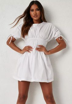 Dani Michelle x Missguided White Pleated Waist Bubble Hem Mini Dress   Missguided Missguided, White Shorts, Thighs, Bubbles, White Dress, High Neck Dress, Mini, Cotton, How To Wear
