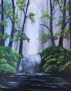 Learn to Paint Spring Melt Down tonight at Paint Nite! Easy Paintings, Beautiful Paintings, Landscape Art, Landscape Paintings, Painting & Drawing, Watercolor Paintings, Body Painting, Waterfall Paintings, Wine And Canvas