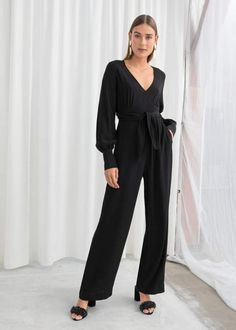 6b18271d456 And other stories Plunging Belted Jumpsuit Jumpsuits