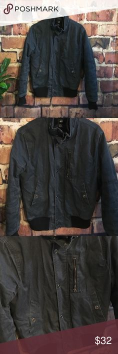 Men's Jean motorcycle bomber style jacket amazing easy comfortable jacket for your man! Great gift! in great overall condition. Slight condition. H&M Jackets & Coats Bomber & Varsity