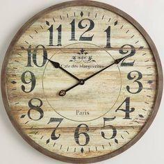 norah gray wash wood clock extra large wall