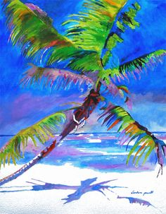 Beach Palm Tree Acrylic Paintings   Paintings by Barbara Powell Paintings in Watercolor and acrylic